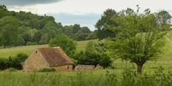 Small stone house in the Normandy countryside in France. Large trees (oaks, ash trees), hawthorn hedges and pastures for cattle. Wooded hill in the background, cloudy sky and spring light