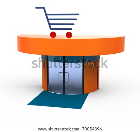 Small store with a shopping cart. Isolated on white.