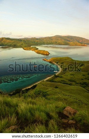 Small strait between two unmanned island  view from hill, the beautiful natural view in this archipelago  #1266402619
