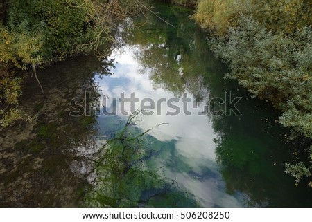 small stream with underwater plants #506208250