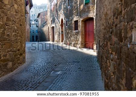 Small street in Montalcino, Tuscany. Italy