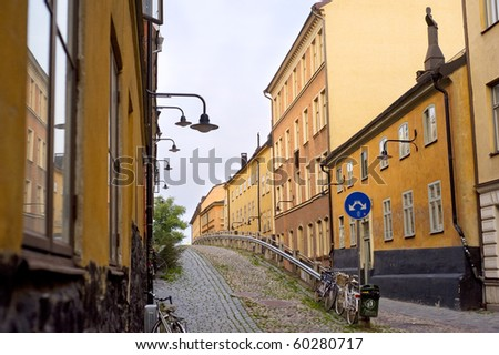 Small street in Stockholm in an old city( gamla stan). Sweden