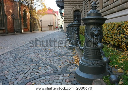 Small street in the historical center of city (Riga, Latvia, Europe)