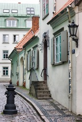 Small street of the old Riga city, Europe