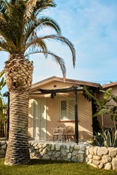 Small stylish house on an island with tall palm trees. A holiday home. Summer holidays and vacations.