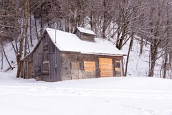 Small sugar shack in maple trees woods closed until spring seen during a grey winter afternoon on King's Road, St-Augustin-de-Desmaures, Quebec, Canada