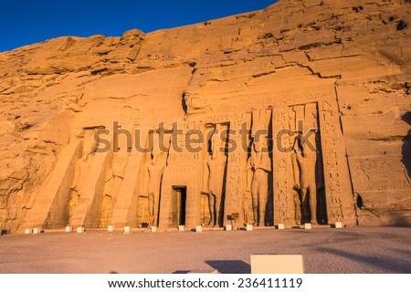 Small Temple of Nefertari on the sunrise, Abu Simbel, Egypt #236411119