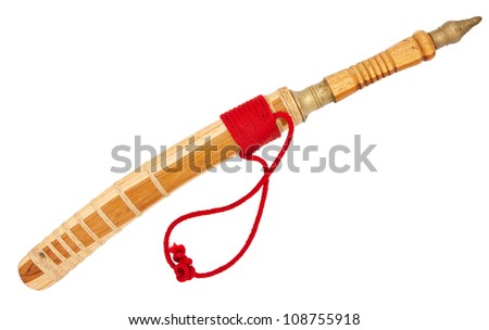 Small Thai machete in Sheath with decorative red rope isolated on white background with clipping path