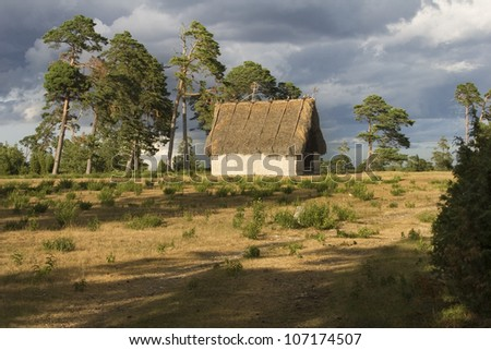 Small, thatched house in an open field, Sweden.