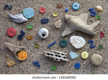 Stock photo of small things found at beach. Close-up from above.