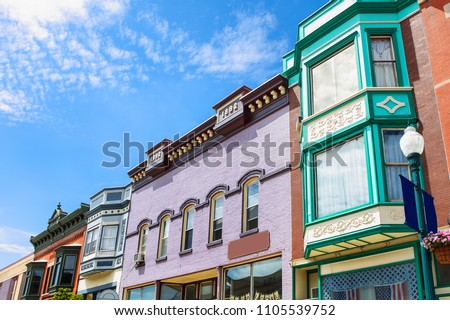 Small town buildings in the midwestern united states