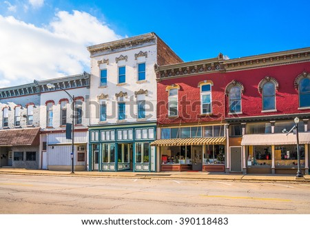 Small town business commercial downtown storefronts main street USA