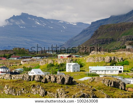 Small Town East Fjords Iceland Stock Photo 100263008 : Shutterstock
