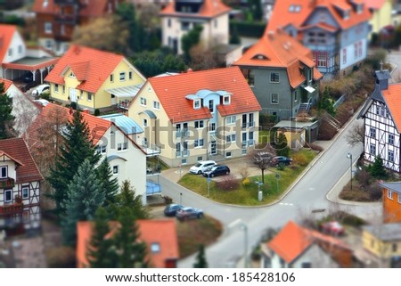 Small town from a bird's perspective - stock photo