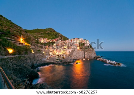Small Town Manarola (Cinque Terre, Italy) after the sunset - stock photo