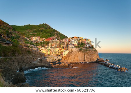 Small Town Manarola (Cinque Terre, Italy) during sunset