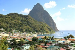 Small town Soufriere in Saint Lucia, Caribbean Islands. Soufriere is a town on the West Coast of Saint Lucia. Originally founded by the French it was the original capital of the island.