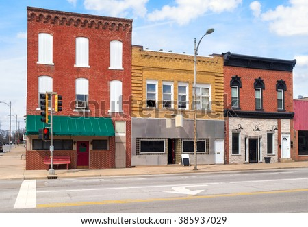 Small town USA downtown main street commercial building storefronts