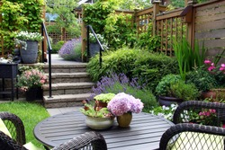 Small townhouse perennial summer garden. Also available in vertical.