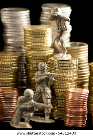 Small toy soldiers in front of euro coins