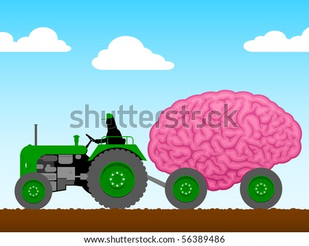 Small tractor pulling a huge brain