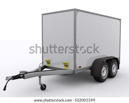 Small Trailer isolated 3d rendering