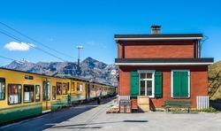 Small train station in Swiss alps  of  Jungfrau region.