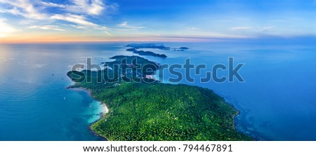 Small tropical island in the ocean. Royalty high quality free stock image aerial view of Thom island in Phu Quoc, Kien Giang, Vietnam