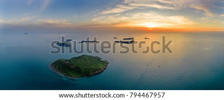 Small tropical island in the ocean. Royalty high quality free stock image aerial view of Vang island or Thom island in Phu Quoc, Kien Giang, Vietnam