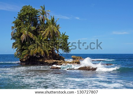Small tropical island with lush vegetation and wave crashing on reef