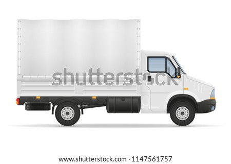 small truck van lorry for transportation of cargo goods stock illustration isolated on white background
