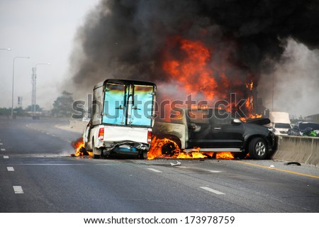 small truck with Truck caps car explosive car crash and catch fire on motorway #173978759