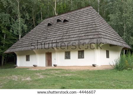Small Ukrainian historical house (preceding century, museum of Ukrainian folk architecture in Pirogovo villlage (near Kiev))