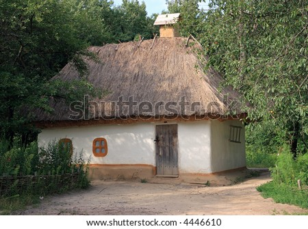 Small Ukrainian historical house (preceding century, museum of Ukrainian folk architecture in Pirogovo villlage (near Kiev))