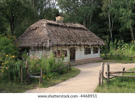 Small Ukrainian historical house (preceding century, museum of Ukrainian folk architecture in Pirogovo village (near Kiev))