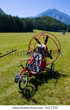 Small, ultralight helicopter on the ground
