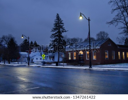 Small village at nighttime in winter