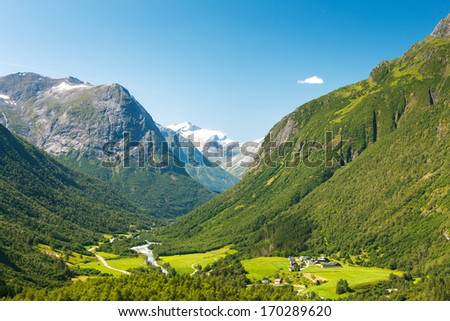 Small village in a valley in mountains, Norway #170289620