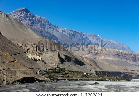 small village near the river in desert mountain, Mustang, Himalaya