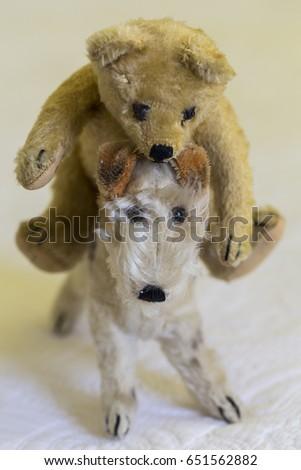 Small Vintage Teddy Bear Riding Fox Terrier Stuffed Toy Ez Canvas