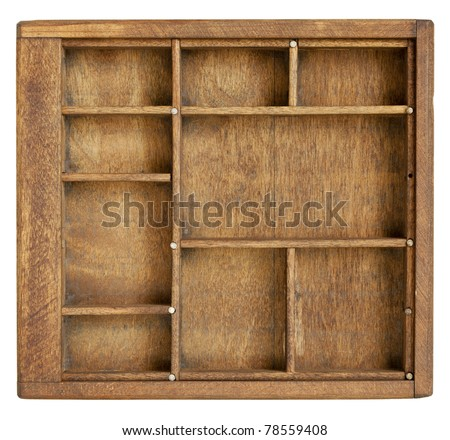 small vintage wood  case (typesetter drawer)  with  dividers, isolated on white