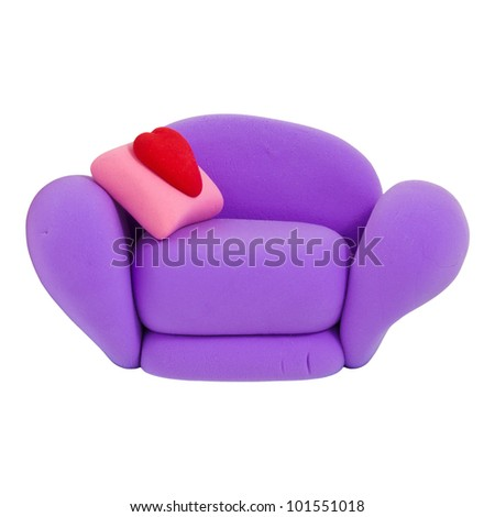Small violet armchair, made from child's play plasticine