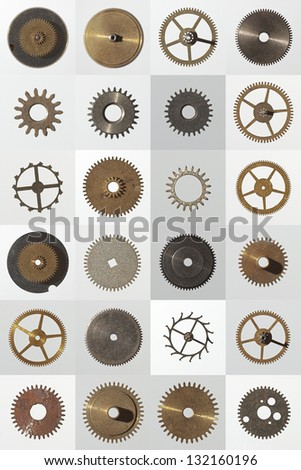 small watch cogs looking down from above background