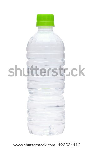 Small water bottle isolated on white background