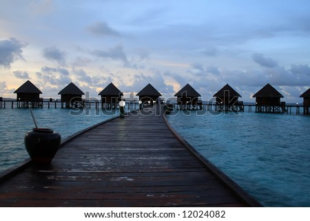small water-houses on the ocean