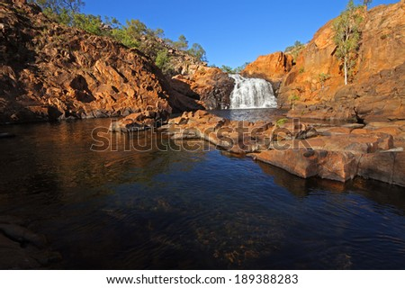 Small waterfall and pool with clear water Kakadu National Park Australia