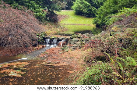 Small waterfall and stream in a park, Portland Oregon.