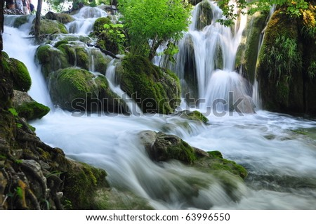 Small waterfall in Plitvice national park, Croatia