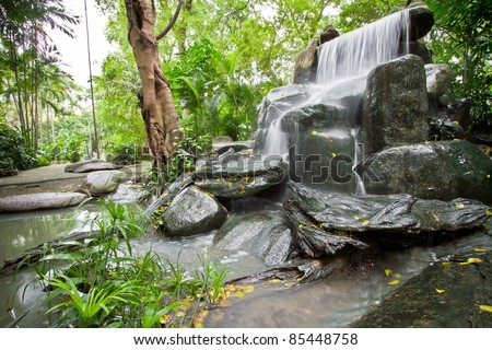 Small Waterfall In The Home Garden. Stock Photo 85448758 ...