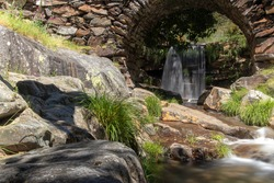 small waterfall in the typical village of drave, located in the arouca geopark, in Arouca, Portugal